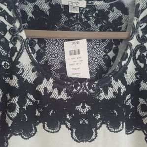 Cache Lace Print M Top Sweter Long Sleeve M NWT
